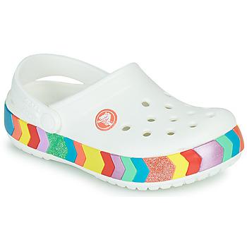 Schuhe Mädchen Pantoletten / Clogs Crocs CROCBAND CHEVRON BEADED CLOG K Weiss / Multifarben