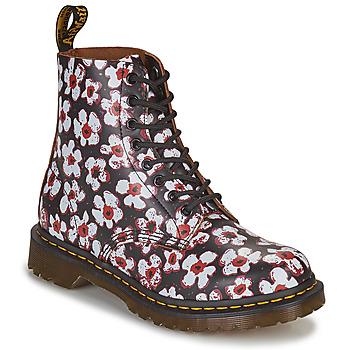 Schuhe Damen Boots Dr Martens 1460 PASCAL Schwarz / Weiss / Rot