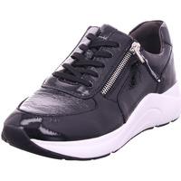Schuhe Damen Sneaker Low Caprice Da.-Schnürer BLACK NAPLAK