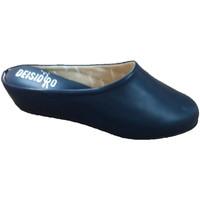 Schuhe Damen Pantoletten / Clogs Deisidro Frauenlederpantoffeln öffnen sich zurück Blau