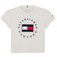 Kleidung Mädchen T-Shirts Tommy Hilfiger KG0KG05503-Z00-J Beige