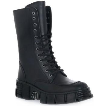 Schuhe Damen Low Boots New Rock WALL ITALI NERO TOWER Nero