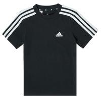 Kleidung Jungen T-Shirts adidas Performance B 3S T Schwarz