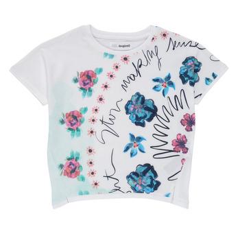 Kleidung Mädchen T-Shirts Desigual 21SGTK02-1000 Weiss