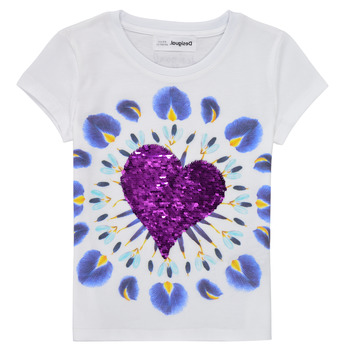 Kleidung Mädchen T-Shirts Desigual 21SGTK45-1000 Weiss