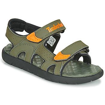 Schuhe Kinder Sandalen / Sandaletten Timberland PERKINS ROW 2-STRAP Grün / Orange