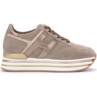 Schuhe Damen Sneaker Low Hogan Sneaker Midi H222 in Veloursleder Beige Beige