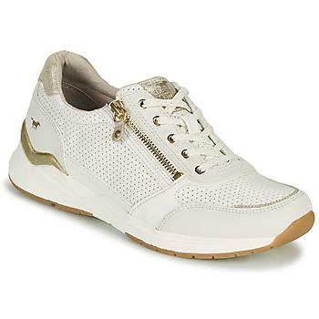 Schuhe Damen Sneaker Low Mustang ANINTA Weiss / Gold