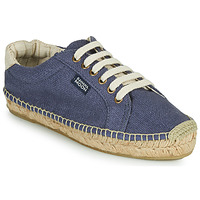Schuhe Damen Leinen-Pantoletten mit gefloch Banana Moon Pacey Blau