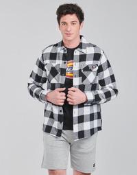 Kleidung Herren Langärmelige Hemden Dickies NEW SACRAMENTO SHIRT BLACK Schwarz / Weiss