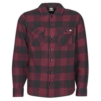 Kleidung Herren Langärmelige Hemden Dickies NEW SACRAMENTO SHIRT MAROON Bordeaux / Schwarz