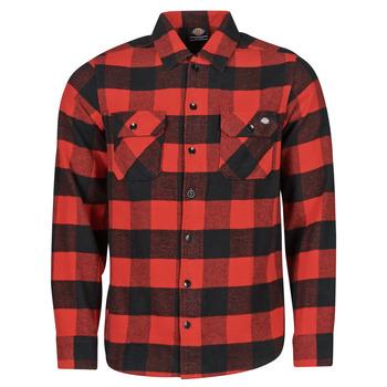 Kleidung Herren Langärmelige Hemden Dickies NEW SACRAMENTO SHIRT RED Rot / Schwarz