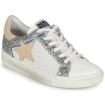 Schuhe Damen Sneaker Low Semerdjian CARLA Weiss / Silbern / Beige