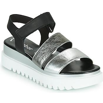 Schuhe Damen Sandalen / Sandaletten Gabor 6461061 Schwarz / Weiss / Silbern