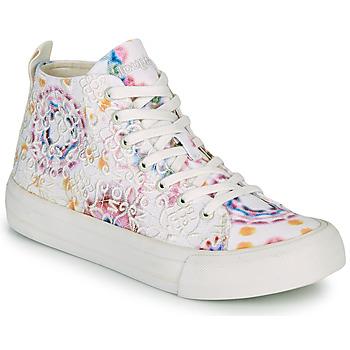 Schuhe Damen Sneaker High Desigual BETA LACE TIE DYE Weiss