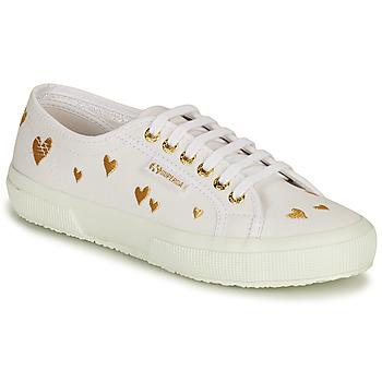Schuhe Damen Sneaker Low Superga 2750 HEARTS EMBRODERY Weiss / Gold