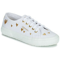 Schuhe Kinder Sneaker Low Superga 2750 COTJEMBROIDERY LAMEHEARTS Weiss / Gold