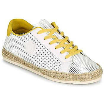 Schuhe Damen Leinen-Pantoletten mit gefloch Pataugas PALOMA F2F Weiss / Gelb