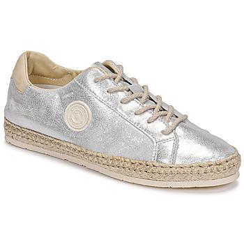 Schuhe Damen Leinen-Pantoletten mit gefloch Pataugas PAM/M F2E Silbern