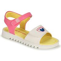 Schuhe Mädchen Sandalen / Sandaletten Agatha Ruiz de la Prada SMILEY Weiss / Rose