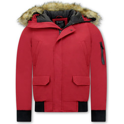 Kleidung Herren Jacken Enos Short Winterjacke Mit Kunstpelzkragen Rot
