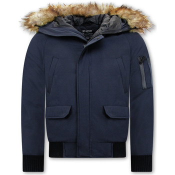 Kleidung Herren Jacken Enos Short Winterjacke Mit Kunstpelzkragen Blau