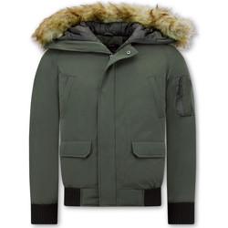 Kleidung Herren Jacken Enos Short Winterjacke Mit Kunstpelzkragen Grün