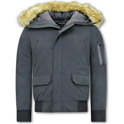 Kleidung Herren Jacken Enos Short Winterjacke Mit Kunstpelzkragen Schwarz