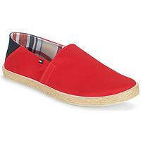 Schuhe Herren Leinen-Pantoletten mit gefloch Tommy Hilfiger EASY SUMMER SLIP ON Rot