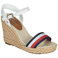 Schuhe Damen Sandalen / Sandaletten Tommy Hilfiger SHIMMERY RIBBON HIGH WEDGE Weiss