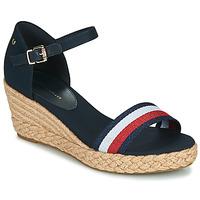 Schuhe Damen Sandalen / Sandaletten Tommy Hilfiger SHIMMERY RIBBON MID WEDGE SANDAL Marine