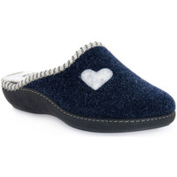 Schuhe Damen Hausschuhe Emanuela 1800 BLU PANTOFOLA Blu