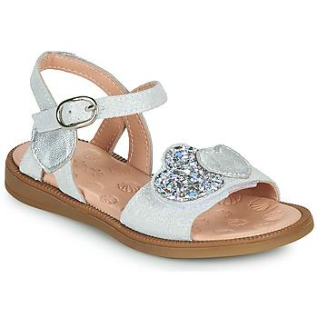 Schuhe Mädchen Sandalen / Sandaletten Acebo's 5500SU-BLANCO Weiss / Silbern
