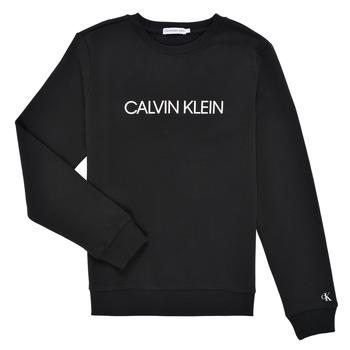 Kleidung Kinder Sweatshirts Calvin Klein Jeans INSTITUTIONAL LOGO SWEATSHIRT Schwarz