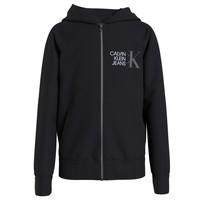 Kleidung Jungen Sweatshirts Calvin Klein Jeans HYBRID LOGO ZIP THROUGH Schwarz