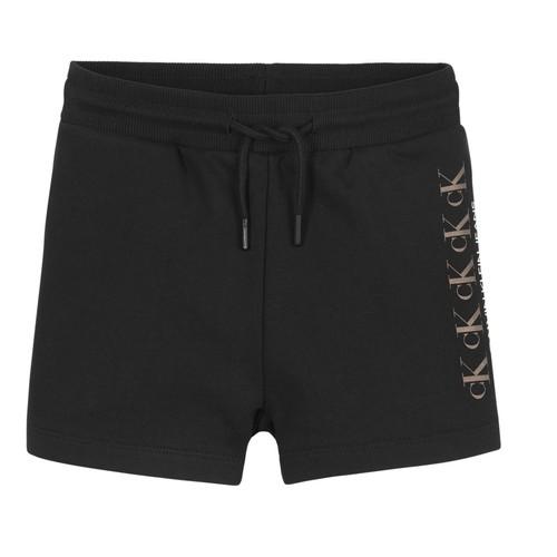 Kleidung Mädchen Shorts / Bermudas Calvin Klein Jeans CK REPEAT FOIL KNIT SHORTS Schwarz