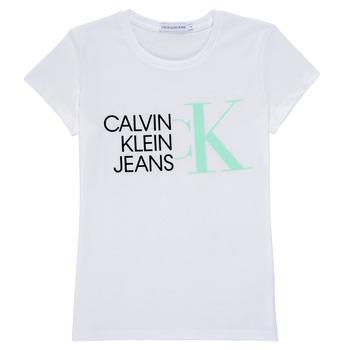 Kleidung Mädchen T-Shirts Calvin Klein Jeans HYBRID LOGO SLIM T-SHIRT Weiss