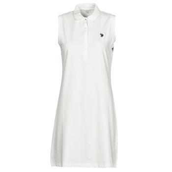 Kleidung Damen Kurze Kleider U.S Polo Assn. AMY DRESS POLO SLEEVELESS Weiss