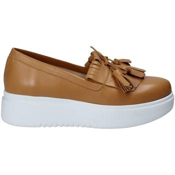 Schuhe Damen Slip on Exton E01 Braun