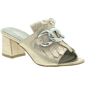 Schuhe Damen Leinen-Pantoletten mit gefloch Pregunta IAB492441-R Gold