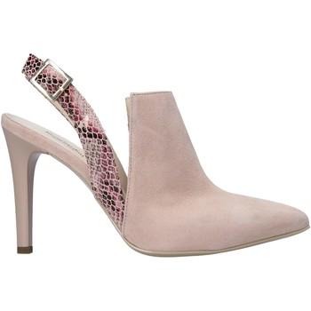 Schuhe Damen Leinen-Pantoletten mit gefloch NeroGiardini E011063DE Rosa