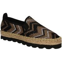 Schuhe Damen Leinen-Pantoletten mit gefloch Keys 5345 Schwarz