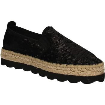 Schuhe Damen Leinen-Pantoletten mit gefloch Keys 5346 Schwarz