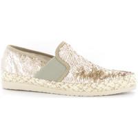 Schuhe Damen Leinen-Pantoletten mit gefloch Stonefly 108447 Gold