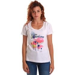 Kleidung Damen T-Shirts Key Up 5D58S 0001 Weiß