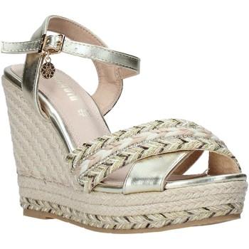Schuhe Damen Leinen-Pantoletten mit gefloch Gold&gold A20 GK51 Gold