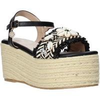 Schuhe Damen Leinen-Pantoletten mit gefloch Gold&gold A20 GK50 Schwarz
