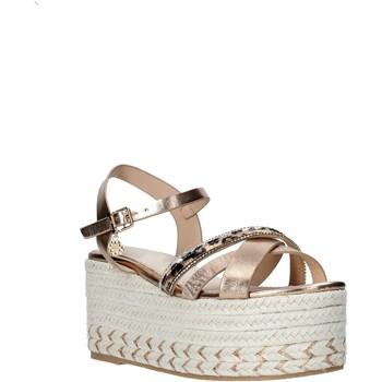 Schuhe Damen Leinen-Pantoletten mit gefloch Gold&gold A20 GK52 Beige