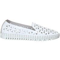 Schuhe Damen Leinen-Pantoletten mit gefloch Susimoda 4841-02 Weiß