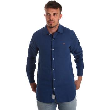 Kleidung Herren Langärmelige Hemden Napapijri N0YIL7 Blau